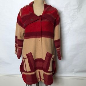 Anthropologie striped lamb wool snap front jacket